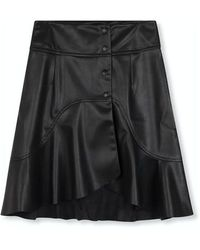 Alix The Label Ladies Woven Faux Leather Skirt Black