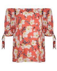EsQualo Blouse Knot Print Daisy Flower Print - Multicolour