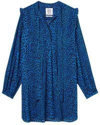Zoe Karssen Dandy Leopard Mini Dress Blue Leopard