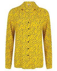 EsQualo Blouse S/slv Mini Paisley Print Print - Yellow