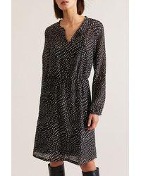 Lanius Kleid Mit Schnürung Print Dots - Black