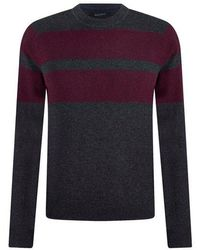 NAADAM Multi Stripe Textured Crewneck Pullover Smoke - Purple