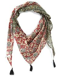 IKKS Micro Camouflage And Floral Print Mix Fine Scarf Dark Red