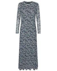 Soaked In Luxury Slarine Dress Ls Painted Leaf Print - Multicolour