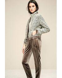 OKY Herringbone Wool Bomber Jacket Beige - Natural