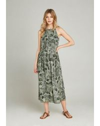 Apricot Sommerkleid »Abstract Leaf Midi Dress« in Midi-Länge - Grün