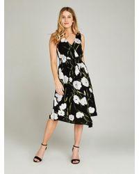 Apricot Druckkleid »Tulip Waist Dress« mit asymmetrischem Saum - Schwarz