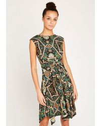 Apricot Druckkleid »African Tile Hankyhem Dress« mit Bindeband - Grün