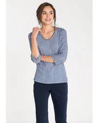 Olsen V-Shirt mit Kreismuster - Blau