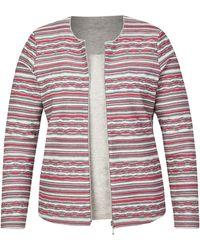 Rabe Twin-Set mit Ringel-Jacke und Glitzer-Shirt - Grau