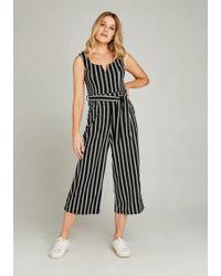 Apricot Jumpsuit »Striped Culotte Jumpsuit« (mit Bindegürtel) in modischem Streifenlook - Schwarz