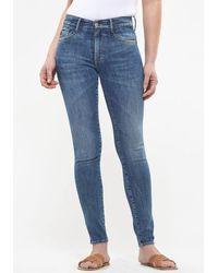 Le Temps Des Cerises Skinny-fit-Jeans »POWER HIGH« im Used-Look - Blau