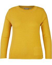 Rabe Pullover mit Rippenstruktur und Stehkragen - Gelb