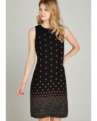 Apricot Gedessineerde Jurk Batik Border Shift Dress - Zwart