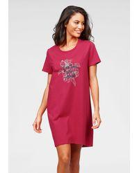 Schiesser Nu 20% Korting: Nachthemd Met Gebloemde Voorkant - Roze