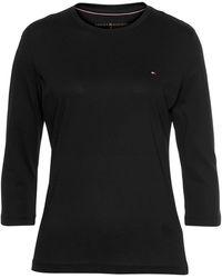 Tommy Hilfiger T-Shirt »HERITAGE CREW NECK« mit Logo-Flag auf der Brust - Schwarz