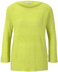 Tom Tailor Strickpullover »Pullover mit Streifenstruktur aus Leinengemisch« - Gelb