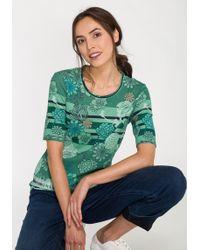 Olsen Rundhalsshirt mit kombiniertem Blütenprint und Streifenmuster - Grün