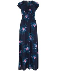 Apricot Maxikleid »Hibiscus Spray Smock Maxi« mit Blumendruck - Blau