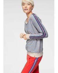 Cotton Candy Sweatshirt »ICLAL« mit konstrastfarbenen Seitenstreifen - Blau