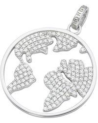 GIORGIO MARTELLO MILANO Kettenanhänger »Weltkugel, Weltkarte mit Zirkonia, Travel, Silber 925« - Mehrfarbig