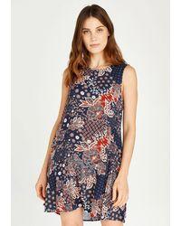 Apricot Gedessineerde Jurk Batik Floral Skater Dress - Blauw