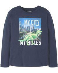 Tom Tailor T-Shirt »Langarmshirt mit Foto-Print« - Blau