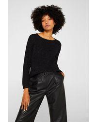 Esprit Glitter-Pullover mit rückseitigem Zipper - Schwarz