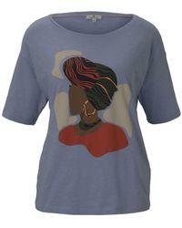 Tom Tailor T-Shirt »Lockeres T-Shirt mit Print« - Blau