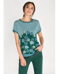 Olsen Rundhalsshirt mit Allover-Print aus stilisierten Blüten und graphischen Ornamenten - Grün