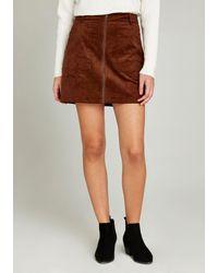 Apricot Minirock »Zip Through Corduroy Skirt« mit Reißverschluss - Braun