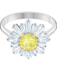 Swarovski Fingerring »Sunshine, gelb, rhodiniert, 5482713, 5482709, 5472481, 5482701«, mit ® Kristallen - Mehrfarbig