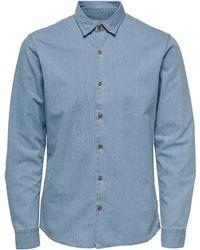 Only & Sons Overhemd Met Lange Mouwen Sask Ls Chambray Shirt - Blauw