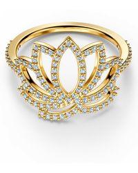 Swarovski Fingerring » Symbolic Lotus, weiss, vergoldet, 5535601, 5521497, 5535599, 5535595«, mit ® Kristallen - Mettallic
