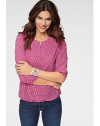 Olsen Rundhalsshirt mit Allover-Print und elastischem Saum - Pink