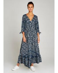Apricot Maxikleid »Paisley Border Tie Sleeve Dress« mit Bindeband an den Ärmeln - Blau