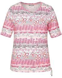 Rabe T-Shirt mit V-Ausschnitt und floralem Print - Grau