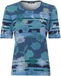 Olsen Rundhalsshirt mit kombiniertem Blütenprint und Streifenmuster - Blau