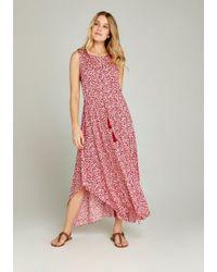 Apricot Maxikleid »Floral Mosaic Hanky Hem Dress« (mit Bindeband) mit Tassel am Taillengürtel - Rot