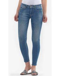 Le Temps Des Cerises Skinny-fit-Jeans »POWERC« mit angesagten Used-Look - Blau