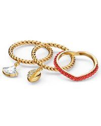 Swarovski Ring-Set »Shell, rot, vergoldet, 5535561, 5520472, 5535558, 5535567« (Set, 3-tlg), mit ® Kristallen - Mettallic