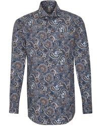 Jacques Britt Businesshemd »Custom Fit« Custom Fit Langarm Haifischkragen Print - Blau