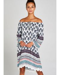 Apricot Druckkleid »Feather Border Crochet Trim Dress« mit Häkelsaum