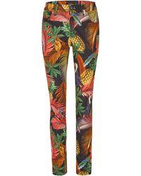"""ANGELS Jeans """"skinny"""" Met Gekleurde Tropical-print - Zwart"""