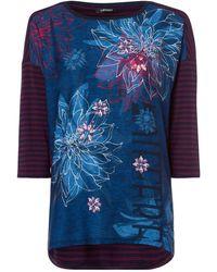 Olsen 3/4-Arm-Shirt mit kombinierten Drucken und Ziersteinchen - Mehrfarbig