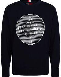 Tommy Hilfiger Trui Met Ronde Hals Compass Graphic Sweater - Blauw