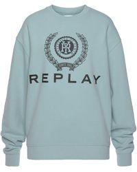 Replay Sweatshirt mit großem Logo-Print - Blau