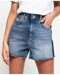 Superdry Jeansshort Ruby Cut Off Short - Blauw