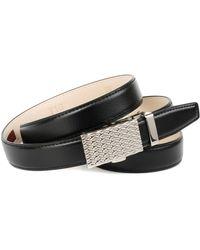 Anthoni Crown Ledergürtel in schwarz mit Automatik Schließe in dekorativem Muster - Mehrfarbig