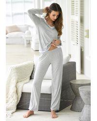 Lascana Pyjama In Hoogwaardige Layer-look - Grijs